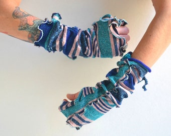 Upcycled Fingerless Arm Warmers - Fingerless Arm Warmers - Vintage Inspired