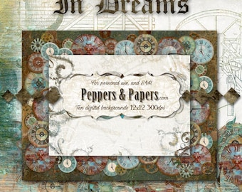 Steampunk Printable layout  - Premade 24x12 Instant double page layout,  Scrapbook pages  - Dream