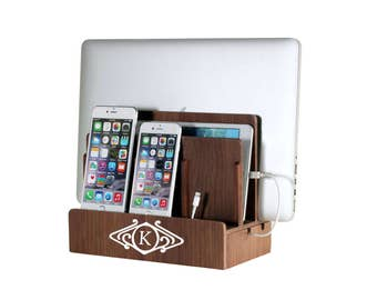 Customized Walnut Veneer Multi Charging Station and Dock with Cord Organizer | Great for Families | Monogram | Personalized | Gift Ideas