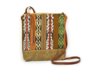 weekdayer • guatemalan textile - waxed canvas crossbody bag • handwoven striped textile - guatemala - brown waxed canvas - global textile