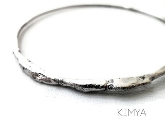 Contemporary Bangle - Minimalist Bracelet - Raw Silver Bracelet - Organic Bangle - Modern Bracelet - Gift for Her - Contemporary Jewelry