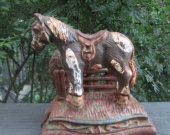 Vintage Cast Iron Doorstop - Cast Iron Pony