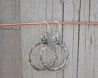 Silver Hoops, Oxidized Silver Earrings, Sterling Hoop Earrings, Hammered Silver Earrings, Gift for Her, Boho Earrings, Oxidized Hoops