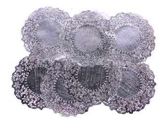 Silver Metallic Shiny Foil Patterned Paper Doilies Pack of 10