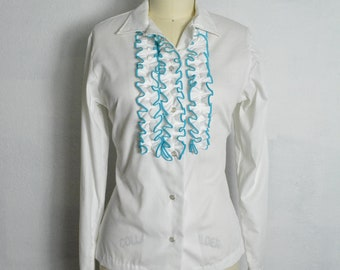 Vintage 1960s Western Shirt 60s Blouse Ruffle Pearl Snap Rodeo Queen