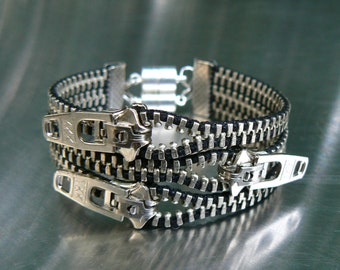 Nickel Uno Dos Tres Zipper Bracelet