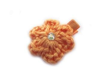Creamsicle Hair Clip Tangerine Hair Clip Crochet Flower Hair Clip Orange Hair Clip Melon Hair Clip Baby Girl Hair Clip Baby Hair Clip Spring