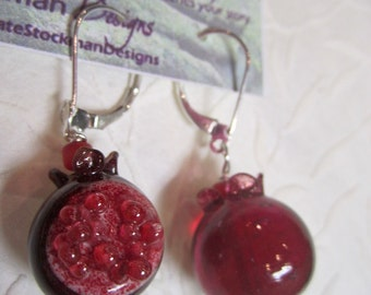 Pomegranate - Winter's Fruit earrings of handmade lampwork glass beads, sterling, sacred adornment, menstruation, menarche, rite of passage