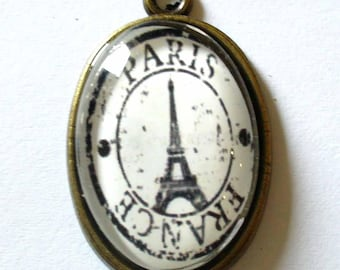 1 pendant bronze antique Tower Effeil Paris black and white 32x20mm MED03 Tower B & w