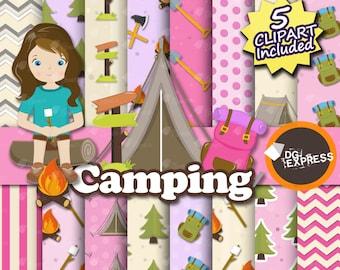 "Camping Digital Paper + Clipart - Girl : ""Camping Girl Digital Paper"" - Camping Clipart, Camping Invite, Camping Clipart, Camping tent"