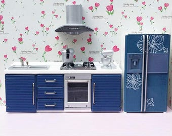 1:12 Scale dolls house miniature blue kitchen set 5pcs