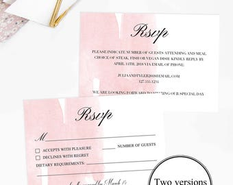 Pink Watercolor Wedding Rsvp Cards Pink Rsvp Cards Download Wedding Response Card Template Romantic Wedding Invitation Insert Card Printable