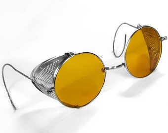 Steampunk Goggles Vintage WILLSON AMBER TINT Steam Punk Glasses Perforated Metal Side Shields 1900's Burning Man - Steampunk by edmdesigns