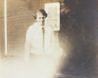 Vintage Photograph 1920s Girl House Schoolhouse Rural