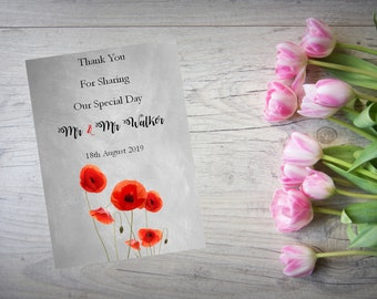 Personalised Wedding Thank You Cards with Matching Envelopes Pack Of 10 TY112