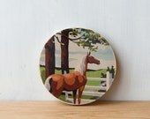 Paint by Number Circle Art Block 'Ranch Horse' - horse farm, brown horse, vintage art
