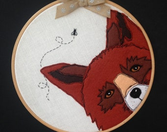 Textile Art, 'Fox in a Hoop'