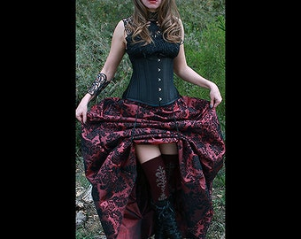 Ready to ship Black UNDERBUST Heavy Duty Corset with WINE Damask Bustle Skirt, Steampunk, Victorian, Cosplay, Dress, outfit, costume