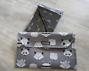 Nappy Wallet & Change Mat Set. Gorgeous Baby Shower Gift. Waterproof Mat. Fox and Raccoon.