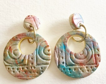 Dangle Earrings - Spirals large round polymer clay dangle earrings on posts