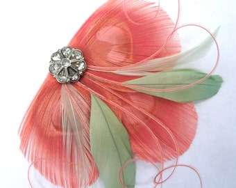 CICILY Coral and Mint Green Peacock Feather Hair Clip, Feather Fascinator