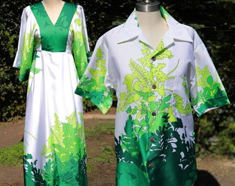 Vintage 60's Hawaiian Waltah Clarkes Plant Green Tropical Caftan Couples Set