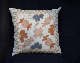Handwoven Suzani pillow cover