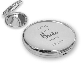 Personalised engraved BRIDE compact mirror wedding gift idea, SILVER plated - SOP9