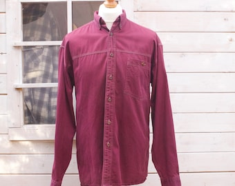 Vintage Long Sleeved Burgundy Button Down Shirt Size - Large