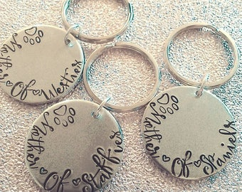 Mother of Pets Keychain - Hand Stamped Keychain  - Fur-baby Mum - Dog Mummy - For Her- Mother's Day- Key Ring - Westie - Staffie - Spaniel