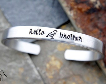 Hello Brother, Crow, Hand Stamped Cuff Bracelet, The Vampire Diaries, Damon Salvatore, TVD Jewelry