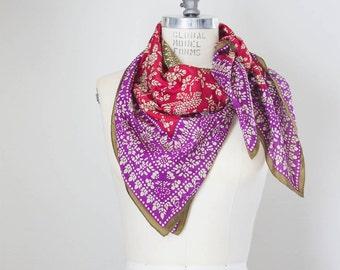 Oscar De La Renta silk scarf / vintage floral scarf / moroccan scarf / printed scarf