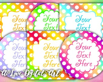 Digital collage sheet Polka Dot, editable labels, instant download circle and square 2.5 inch, printable images, editable tags