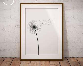 DANDELION PRINT, Printables, Instand Download, Minimalist Dandelion, Black White, Dandelion decor, Floral, Dandelions, Dandelion Art Print