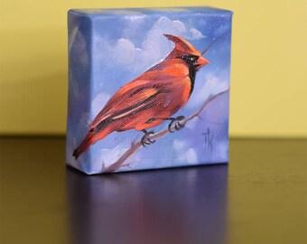 Bird Oil Painting - 4 x 4 inches Gallery Wrap Canvas, Bird Art Home Decor