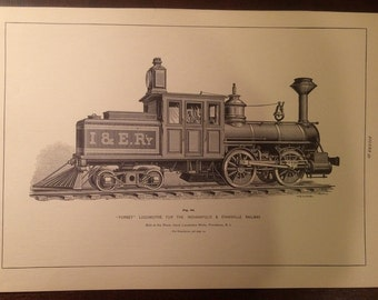 "Antique Steam Locomotive Print of ""Forney"" Locomotive - 1800's - Book Plate"