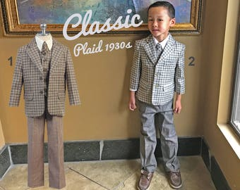 Toddlers, Boys and Teens Retro Plaid Checker 5-Piece Suit, Jacket Vest Pants Shirt Tie, Grey Brown