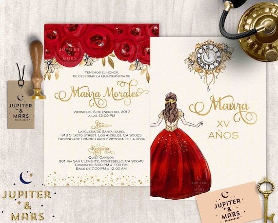 Gold Red Quinceaera Invitation Quinceanera Invitation