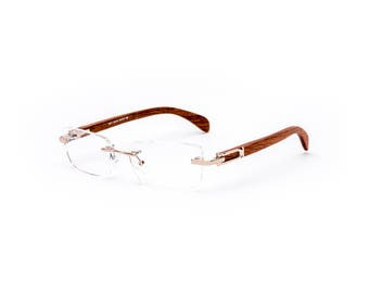 Vintage Wood Collection, Rectangular Rimless Gold Frame Brown Wood Temples, Porta Romana Style Eyeglasses, Vintage Frames, Cartier Style