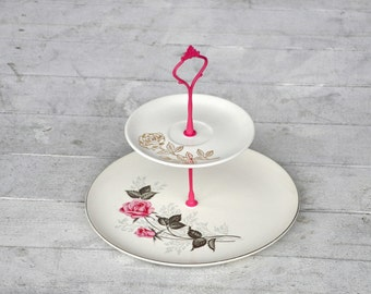 Sentimental: Pink and Gold Floral 2 Tier Serving Stand, Cupcake Stand, Tray, Vintage China, Metallic Roses