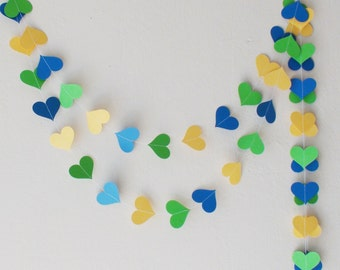 Yellow Green Blue paper heart garland , Brazilian party , Brazilian wedding, nursery decor, baby shower decor, wedding garland