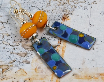 Copper Enameled Bohemian Chic Earrings Gypsy Earrings Summer Days Handmade Lampwork Sterling Silver Modern Earrings