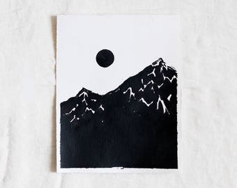 Mountains & Moon Original Abstract Landscape Ink Painting By Britt Fabello