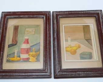 Pair of Vintage 1950's Original Watercolors, Still Life Original Paintings, Framed