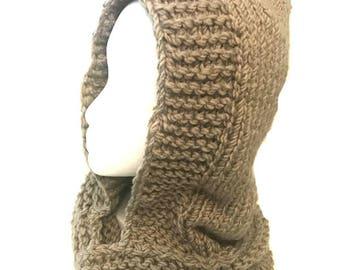 Knitted Hood Cowl Neck Scarf Handmade in Beige Chunky Yarn Hoodie