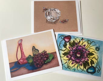 Set of 3 Blank Greeting Cards with Envelopes - From original art: Monarch-Gem Flower-Crystal Butterflies ~~ Don Mathis Artist