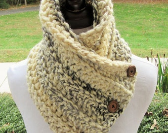 Button Cowl PATTERN, Crochet PDF Pattern, Boston Harbor Scarf, Gift for Her, Easy Pattern, Winter Accessory, Crochet Scarf, Pattern ONLY