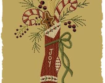 Primitive Machine Embroidery Design-Joy Stocking ~ Version 1--(5x7)-INSTANT DOWNLOAD