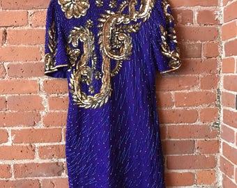 VIBRANT 80s 90s Sequin Beaded Embellished Trophy Dress : by Lawrence Kazar
