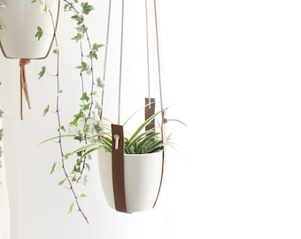 Leather Plant Hanger, set of Two mid-century modern planter,minimalist scandinave decor